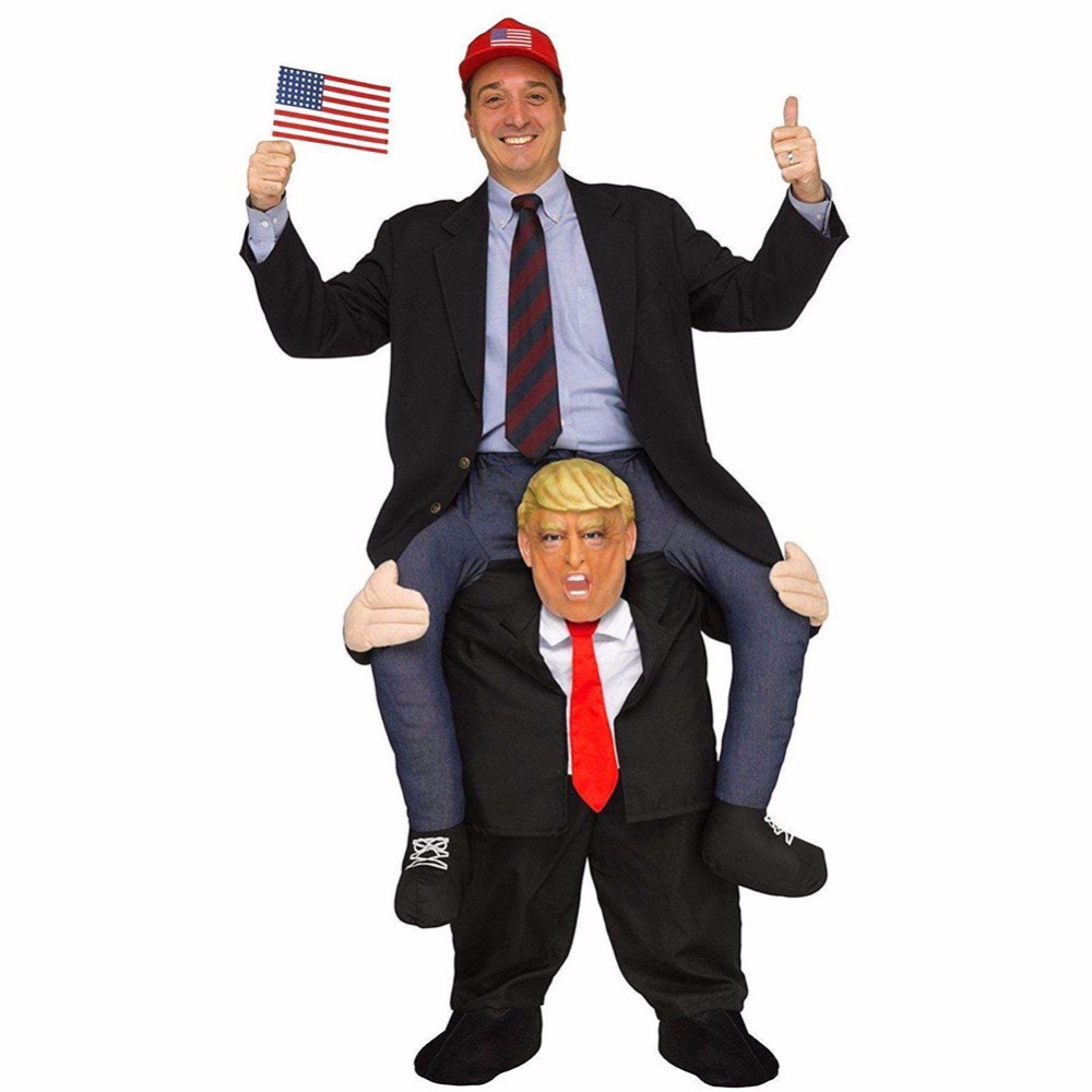 Donald Trump Pants Party Dress Up Ride On Me Mascot Costumes Carry Back Novelty Toys Halloween Party Fun Cosplay Clothes Disfraz adult child novelty ride on me mascot costumes carry back fun pants christmas halloween party cosplay clothes horse riding toys