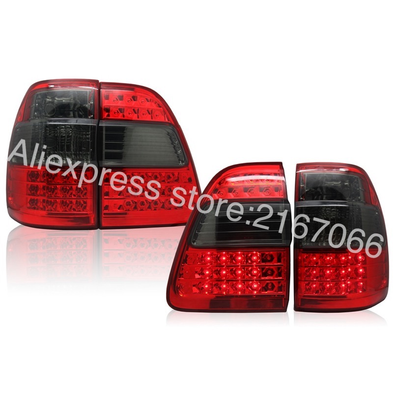 Tail Lights fits <font><b>TOYOTA</b></font> LAND CRUISER <font><b>100</b></font> 1998-2007 Rear Lamps SET LEFT + RIGHT PAIR Inner + Outer - Smoke Set image