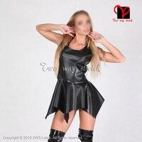 Sexy Czarny Mini Skater Swing Sukienka Lateksowa Sukienka Krótki Gumy Playsuit Bodycon playsuit Gummi plus size QZ-116 powyżej kolana długość