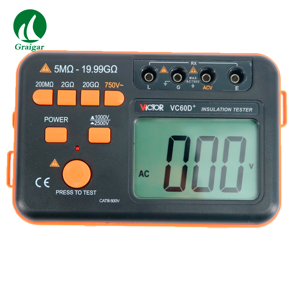 New Type Victor VC60D+ Digital Insulation Tester 1000V 2500V, Megger MegOhm Resistance Meter, Cheap shipping 500 v 1000v 2500v digital insulation resistance tester megger megohm testing meter lcd display