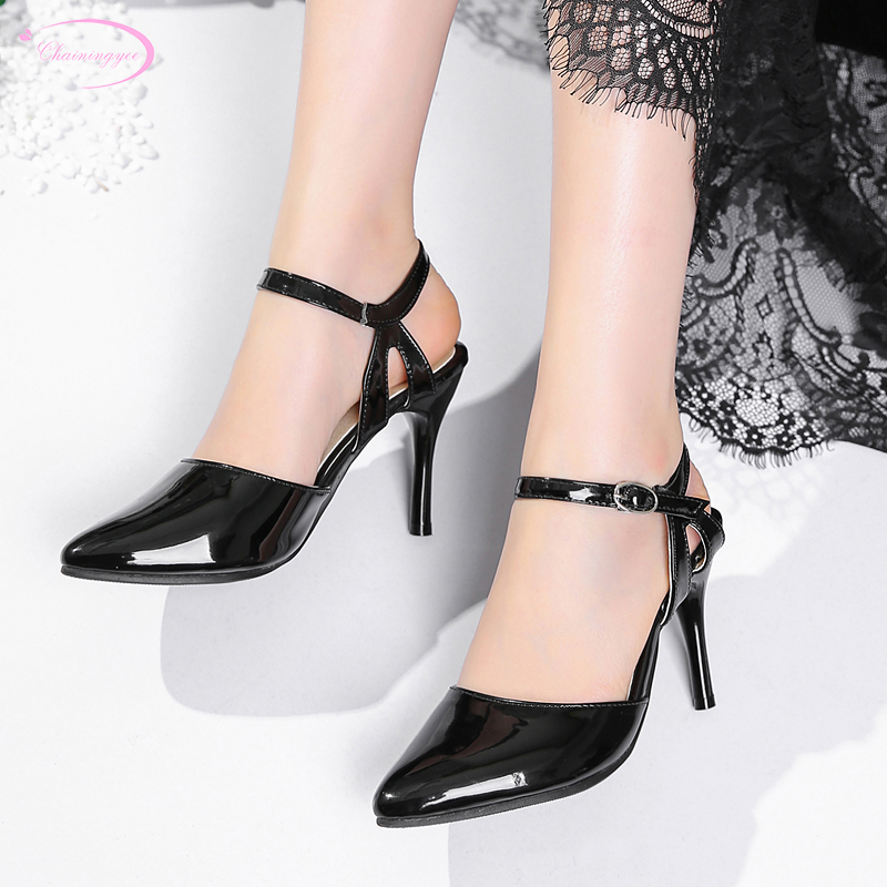 European party style sexy pointed toe summer sandals paint buckle black apricot white high-heeled stiletto womens shoesEuropean party style sexy pointed toe summer sandals paint buckle black apricot white high-heeled stiletto womens shoes