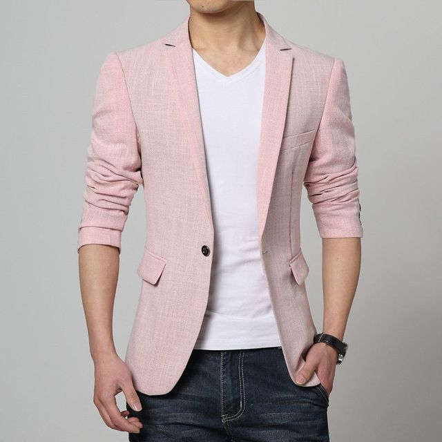 Men Pink Linen Formal Blazers Men Long sleeve Slim fit Suit jacket ...