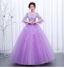 free ship light lavender ball gown cartoon vintage medieval dress Renaissance princess fairy costume Victorian dress/Marie