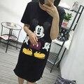 Coreano Moda de Nova Dos Desenhos Animados Impresso Longo T shirt do Verão de Manga Curta O-pescoço Das Mulheres Tops Feminino Casual Solta T-shirt 62519