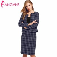 ANGVNS Women Formal Dress Suit Outfit Tweed Crop Top Pencil Skirt Set Plaid Autumn Two-Piece Office Lady Jacket and Split Skirt