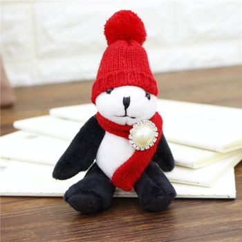 Limbs Moving Plush Panda Key Chains Key Rings Hat Scarf stuffed Toy Women Bag Charm Accessories Pendant Keychain Ethnic Gift