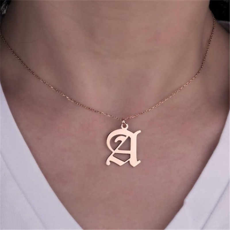 Stainless Steel Old English Initial Necklace Capital Monogram Initial A-Z Letter PendantNecklaces forWomen girl Birthday Gift