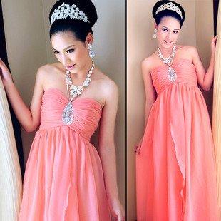 pink long cocktail dressweddingparty bridesmaid bridal crystal party dressfree shipping