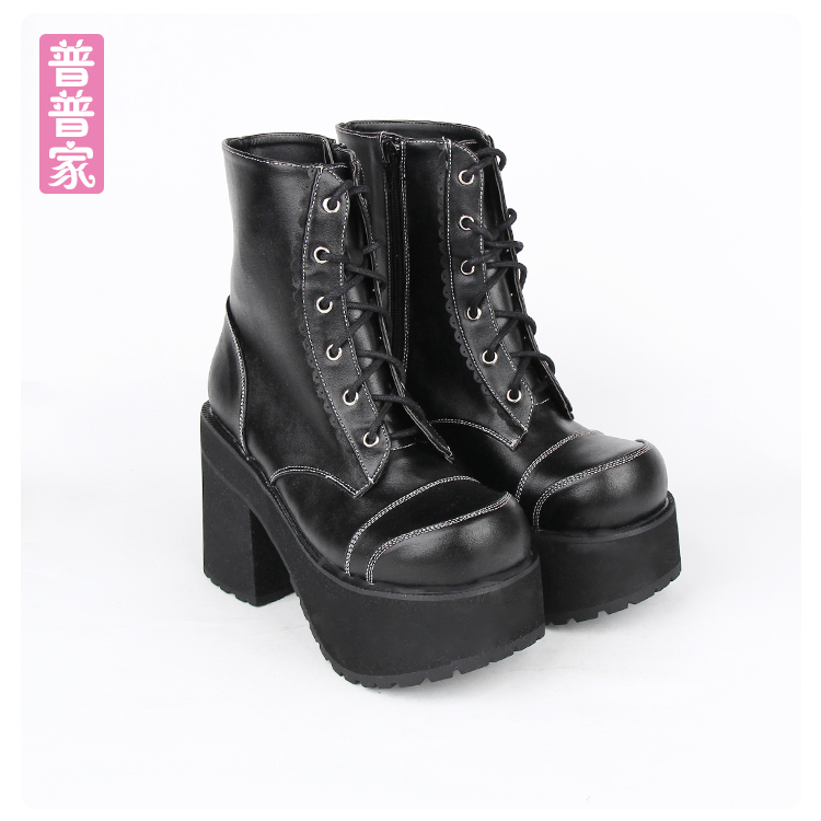Princess sweet punk shoes Japanese COS punk medium tube boots thick bottom laces muffin shoes fashion and cool boots pu8426 princess sweet punk shoes japanese summer and spring round head boots cos anime punk super high heel frill muffin boots pu9712