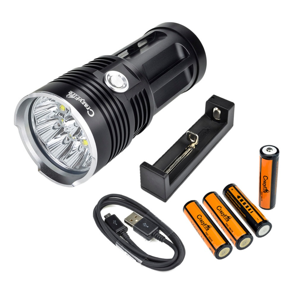 CrazyFire Cheap Super Bright 10000 Lumens LED Flashlight Torch 10xCREE XM-L T6 80W Lantern With 18650 Battery and Charger crazyfire led flashlight 18000 lumens 15xcree xml t6 lantern torch with 2x rechargeable 4200mah 18650 battery battery charger