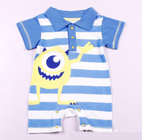 Baby Rompers Summer New Baby Boys Clothes Cartoon Striped Baby Boys Girls Rompers Short Sleeve Polo