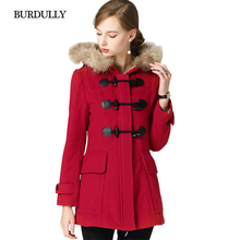 BURDULLY 2019 Autumn Winter Horn Button Fur Hooded Woolen Slim Solid Long Woman's Coat 51%-70% Wool England Style Full sleeve top quality decent style long sleeve hooded woolen coat for men