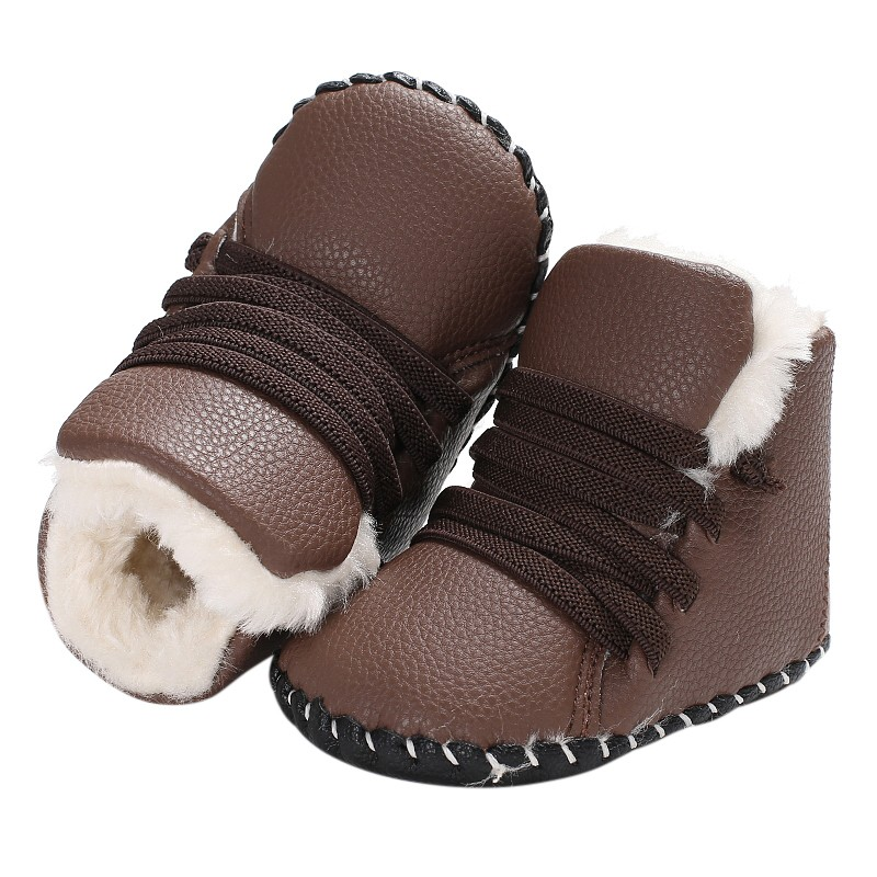 Newborn Kids PU Leather Girls Boys Crib Bebe Snowfield Soft Rubber Soled Shoes Baby Toddler Infant Winter Boots