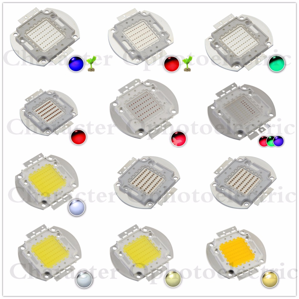 High Power LED 50W Chip Natural Cool Warm White Red Blue Green UV RGB IR Full Spectrum Grow Light 50 W LED for Floodlight
