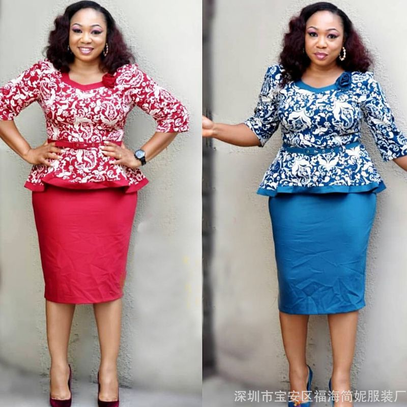 2018 african clothes women elegant printed tops skirts set suits outfit dresses two 2 piece set