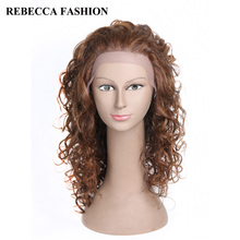 Rebecca Remy Long Curly Human Hair Wigs Vogue Lace Front  Wigs For Black Women African American curly Brown Wigs