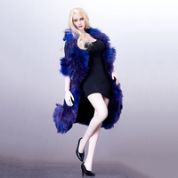 1 6 Female Blue Plush Coat Sleeveless Dress High Heels Clothes Model For 12 Inches Figures
