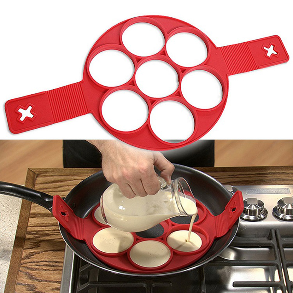 Non-stick Pancake Cooking Tool Non Stick Silicone Egg Cheese Household Porous Cake Mold Kitchen Gadget