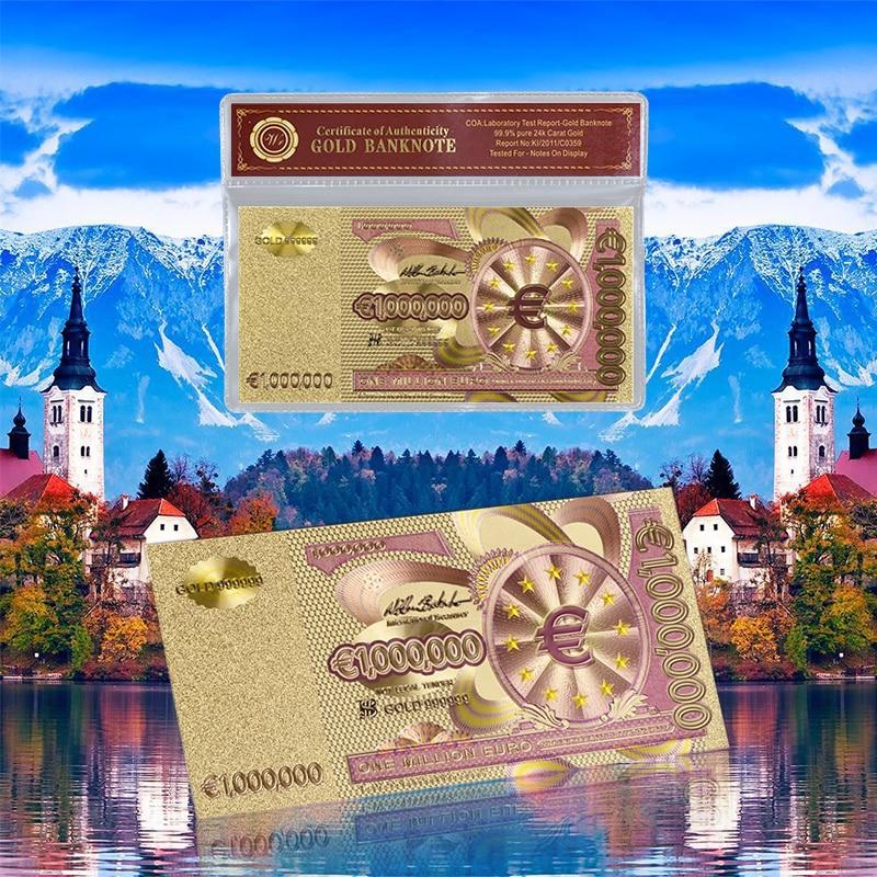 Euro színes arany fólia bankjegy egy millió papírpénz európai replika valuta PVC keret üzleti gyűjtemény ajándék
