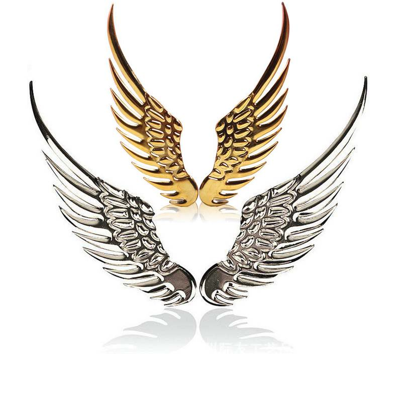 1 Pair Car Styling Car Sticker Angel Wings Fashion Metal Stickers 3D Wings Car Sticker Car Motorcycle Accessories Gold/silver 2017 car styling 3d funny car stickers little devil angel sticker on car automobile decals car styling red gold silver color