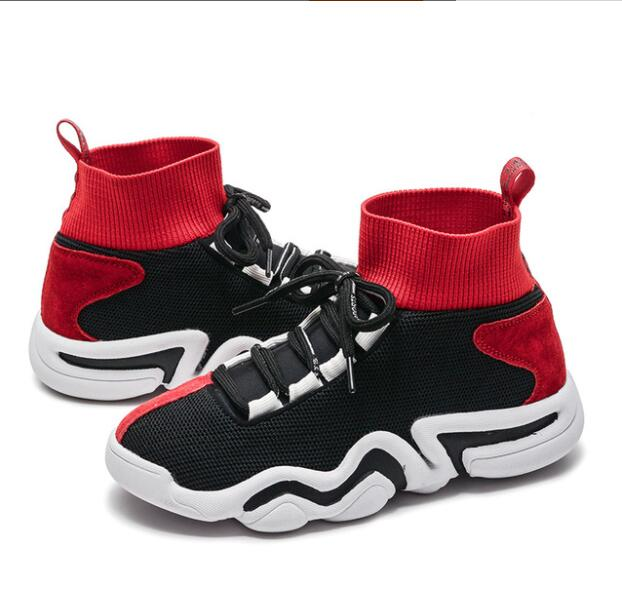 Spring 2019 New Children's Athletic Shoes Fly Weave Breathable High Help Boys Basketball Shoes Girls Running Sport Shoes Nmd