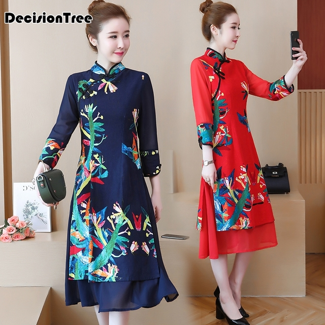 2019 summer modern qipao traditional chinese dress cheongsam banquet costume long qipao woman oriental flower printed dress