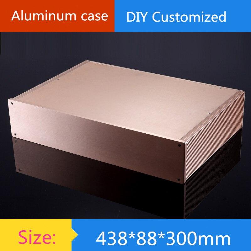 case 438*88*300mm Full aluminum 2U amplifier chassis/instrumentation shell/DIY aluminum housing / AMP Enclosure / case / DIY box globe shaped aluminum shell precise compass