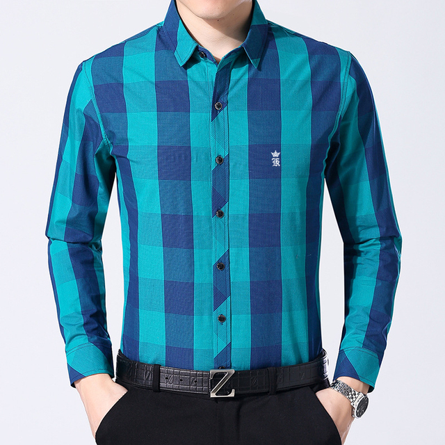 Dudalina Sergio k Camisas Plaid Mens Shirts Long Sleeve Shirt High Quality Silk Cotton Casual Mens Dress Shirts Camisa Masculina