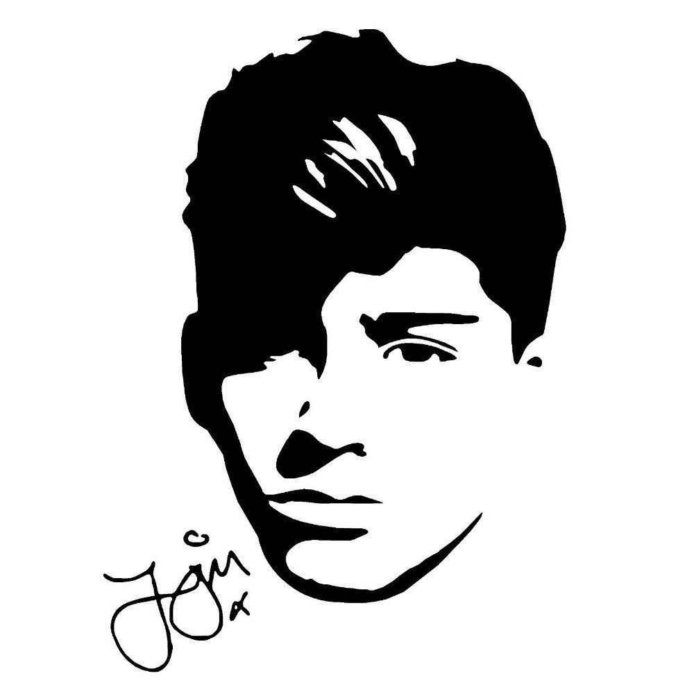12.8cm*17.8cm One Direction Zayn Malik Stickers Decals Vinyl Car Styling Black/Silver S3-6913