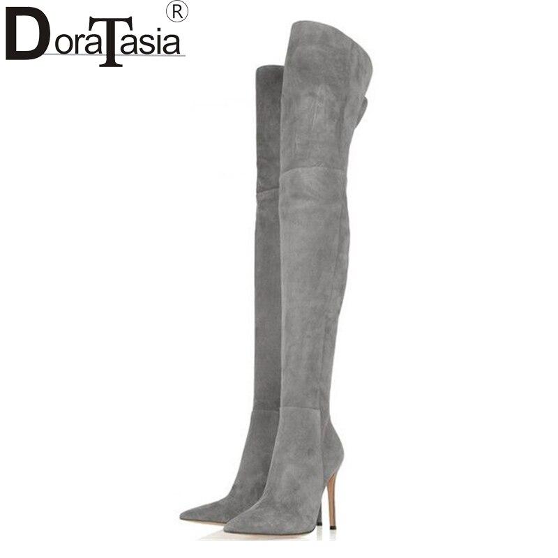DoraTasia 2017 marke neue große größe 34 48 über die knie mode dünne high heels frau sexy party schuhe frauen stiefel spitz-in Überknie-Stiefel aus Schuhe bei AliExpress - 11.11_Doppel-11Tag der Singles 1