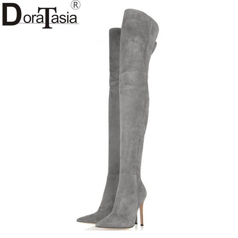 Nuevo 34 Tacones Tamaño Fiesta Botas Doratasia Altos Sobre Zapatos Rodilla gris Sexy Puntiagudos 2017 Grande 48 Negro La Mujer marrón De Moda AwvvfT5Iqr