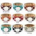 Tom de prata Em Branco de Couro Do Monograma De Couro Cuff Bracelet para As Mulheres Homens Personalizado Monograma Personalizado Cuff Bracelet