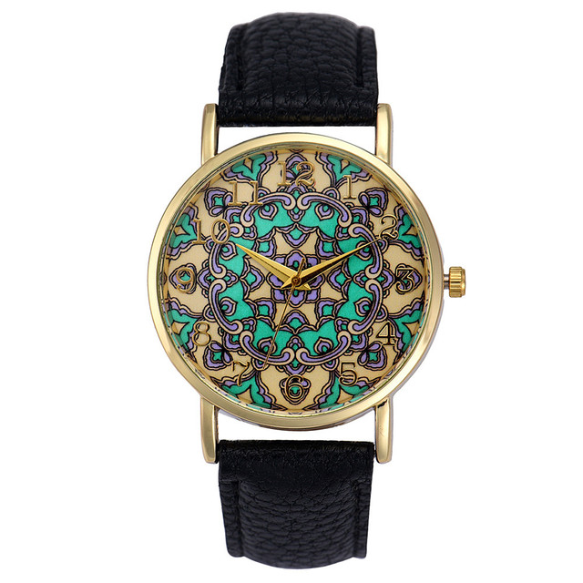 Fashion Tribe Pattern Watch Women Faux Leather Analog Quartz Wrist Watch Lady Ca