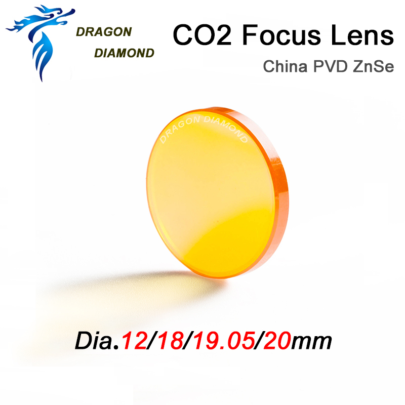 2PCS China CO2 ZnSe Focus Lens Dia 12mm 18mm 19.05mm 20mm FL 38.1 50.8 63.5 76.2 101.6mm For CO2 Laser Engraving Cutting Machine