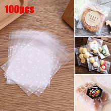 100 PCS/ Pack Cookies Biscuits Candies Baking Supplies Food Packing Bags Frosted Dots Self-Adhesive Cellophane Storage Packs цена 2017