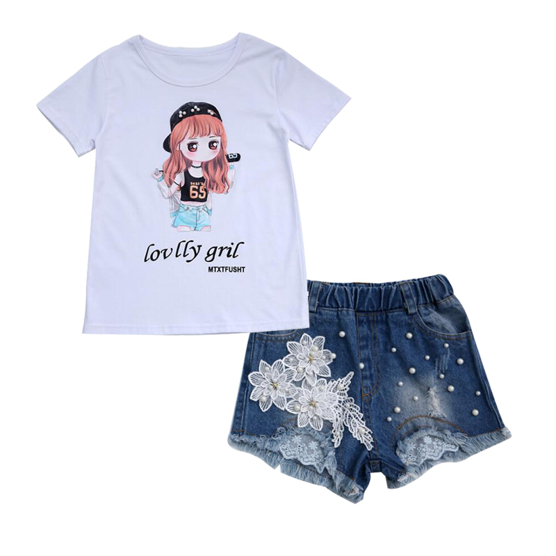 For <font><b>6</b></font> 8 <font><b>10</b></font> <font><b>12</b></font> 14 Years Girls Summer Clothing set Clothes Cotton Print T-shirt + Appliques denim shorts Hot Pants Summer Outfits image
