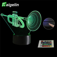 Creative Musical Instrument 3D Horn Model Night Light Colorful Remote Control Touch Sensor LED Visual Desktop