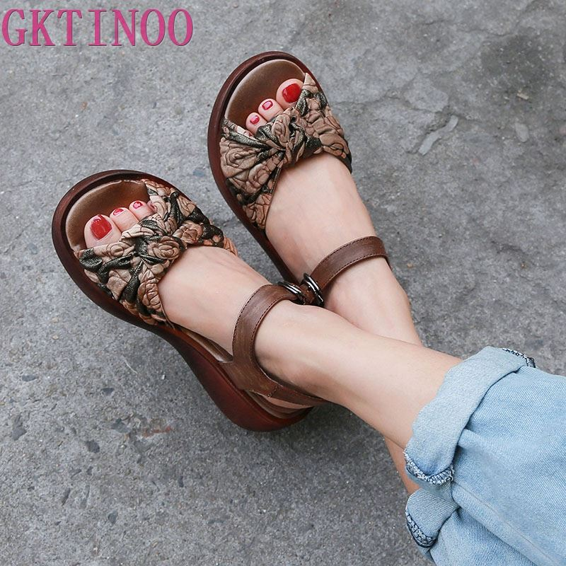 GKTINOO Women Sandals 2019 Summer Genuine Leather Gladiator Sandals Women Shoe Fashion Wedges Casual Shoe Handmade