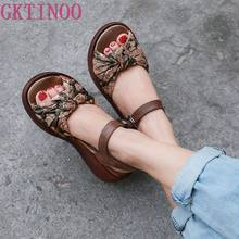 GKTINOO Women Sandals 2019 Summer Genuine Leather Gladiator Sandals Women Shoe Fashion Wedges Casual Shoe Handmade Sandals(China)