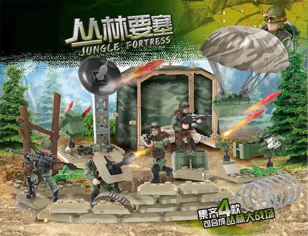 Modern 1:36 scale military Jungle Fortress army action figures mega block weapon gun Parachute building bricks toys for boys