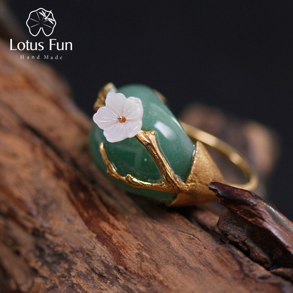 Lotus Fun Real 925 Sterling Silver Natural Pink Green Stones Original Handmade Design Fine Jewelry Plum Flower Rings For Women