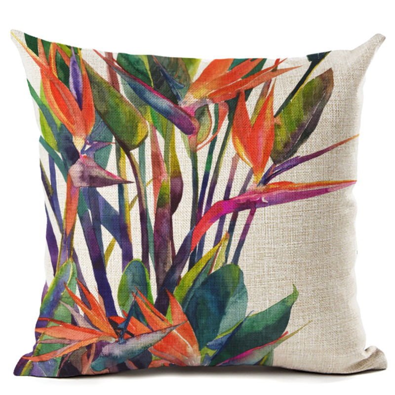 Green Tropical Plant Leave Birds Pillow Cover Colorful Flower Cushion Cover Car Sofa Home Decoration