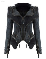 New Hot 2014 Women Winter Outwear Punk Spike Studded Shrug Shoulder Cropped VINTAGE Blazer Denim Jacket