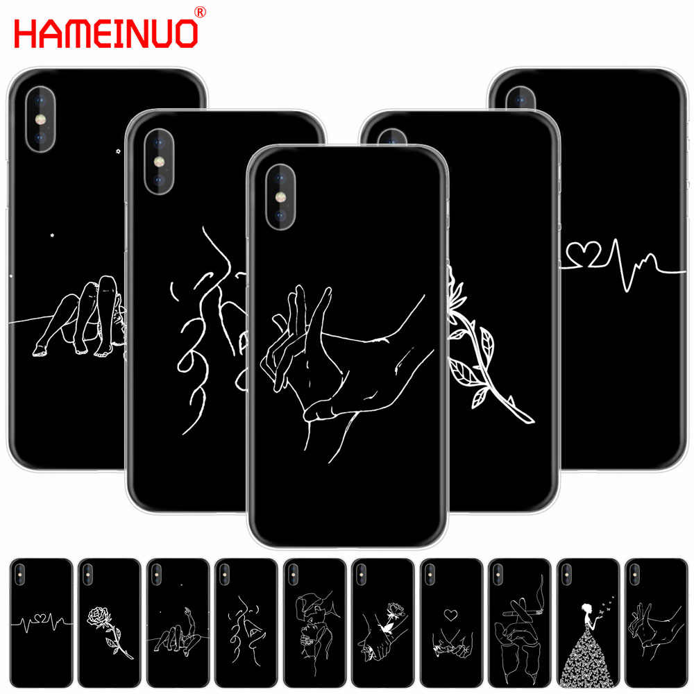 HAMEINUO Art белая линия Kiss Love Heart Flower Rose Girl чехол для сотового телефона iPhone X 8 7 6 4 4s 5 5S SE 5c 6s plus