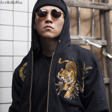 AreMoMuWha Original Juling Bamboo Forest Tiger Embroidered Mens Hooded Plush Warm Sweatshirt Chinese Style Streetwear QX1097
