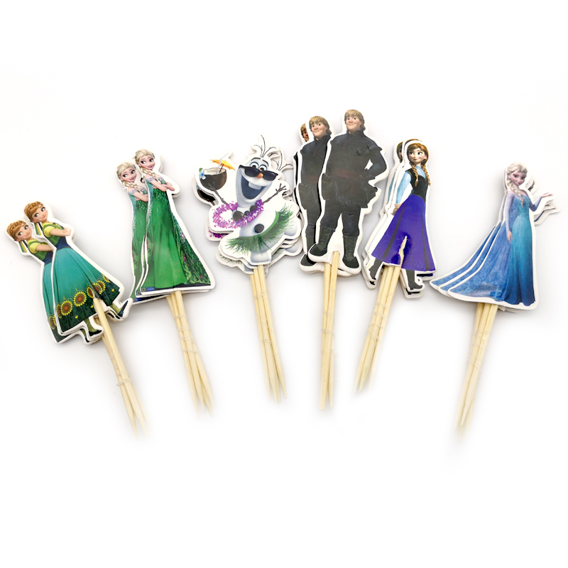 24pcs Happy Birthday Party Girls Favors Decoration Baby Shower Cake Topper Elsa Anna Princess Theme Cupcake Toppers With Sticks(China)