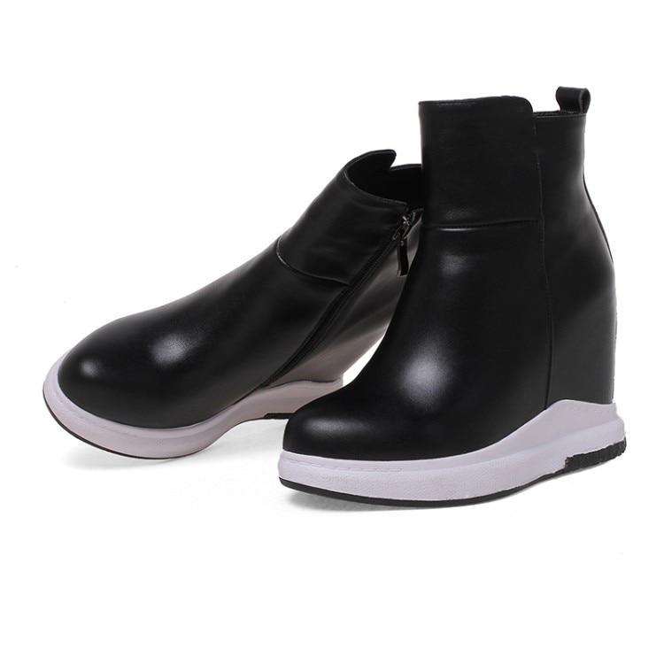 Mujer forme Chaussures Cheville En Plate Zapatos Noir Talons Réel blanc De {zorssar} Botas Hauts Femmes Cuir Croissante À Bottes Casual Hauteur 0q8TBWwx