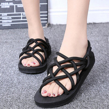 Summer Retro Weave Original Women's Trendy Fashion Casual Slippers Cross Lacing Hollow Out Female Flat Beach Sandals Shoes L434