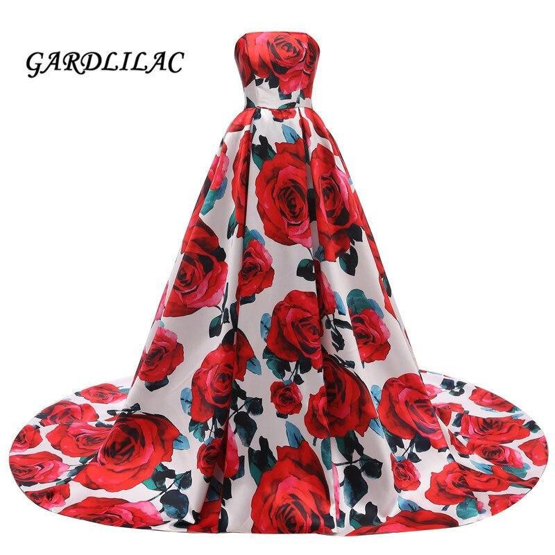 Gardlilac bretelles fleur rouge imprimé Floral robes de soirée robe de bal longue rouge Floral robes de bal pour les femmes robes formelles G0137