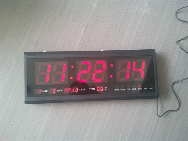 HT4819SM-2,Free Shipping,Aluminum Large Digital LED Wall Clock ,Big Watch Modern Design,Digital clock! Led electronic calendar wholesale free shipping china custom plastic cool light fashion big mens boy waterproof led alarm electronic digital watch